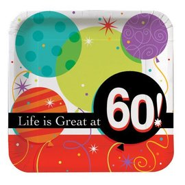Luncheon Plates-Life is Great at 60-8pkg-Paper - Discontinued