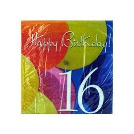 Napkins-LN-Birthday Balloons 16th-18pkg-2ply