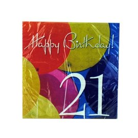 Napkins LN-Photo Real Ballons-21st-18pk-2ply - Discontinued