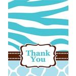 Thank You Cards-Wild Safari Blue-8pkg