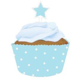 Baking Cups & Toppers-Light Blue Stars-12pkg