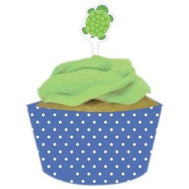 Cupcake Wraps & Toppers-Mr. Turtle-12pkg