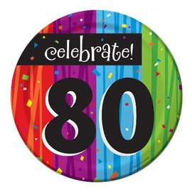 Plates-BEV-Milestone Celebrations 80th-8pkg-Paper - Discontinued