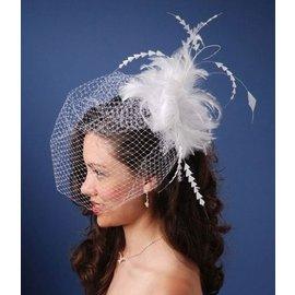 Wedding Veil-White Feathered Birdcage-1pkg