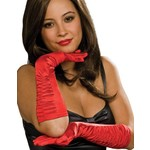 Costume Accessory-Long Red Satin Gloves-1pkg