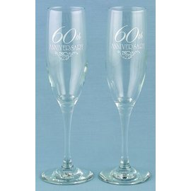Champagne Glasses-60th Anninversary-2pk/6oz