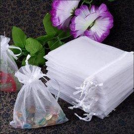 "Organza Bags- White Silk Satin- 4pk/3""x5"""