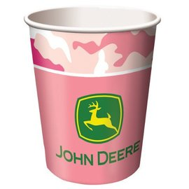 Paper Cups-Pink John Deere-8pkg-9oz - Final Sale