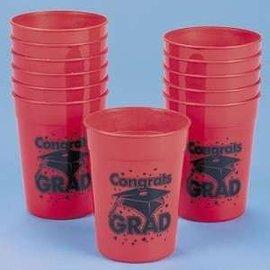 Cup-Congrats Grad-Red or Purple-Plastic-10oz (Seasonal)