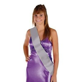 Satin Sash-Customizable-Silver-One Size Fits Most-1 Count