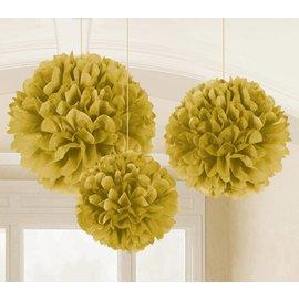 Fluffy Tissue Decor-Gold-9-16''-3pk