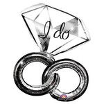 """Foil Balloon-Supershape-""""I Do"""" Double Rings-Silver"""