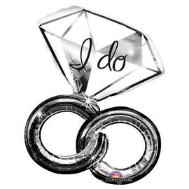 "Foil Balloon - I Do Intertwined Wedding Ring - 30""x27"""