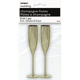 Champagne Flutes-Gold-2pk/6''