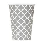 Paper Cups-Silver Quatrefoil