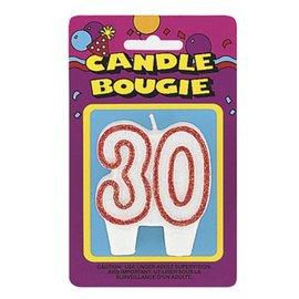 Candle- Red Glitter 30th Birthday- 1pc/3""