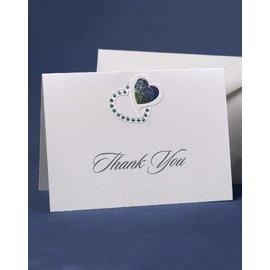 Thank you Cards- Silver Heart-50pk