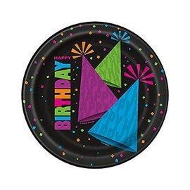 Plates-BEV-Neon Party Birthday-8pkg-Paper
