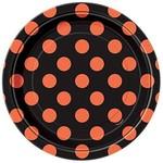 Beverage Plates-Orange & Black Dots