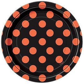 Beverage Plates-Orange & Black Dots
