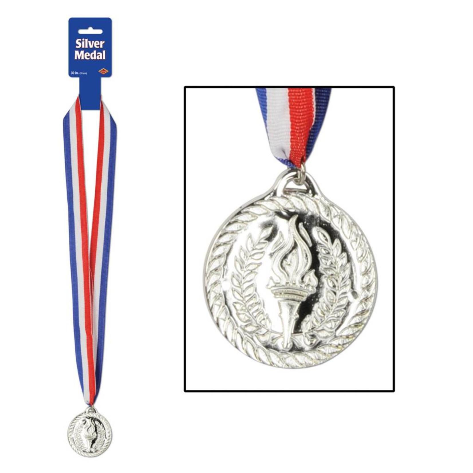 "Award Medal-Silver with Ribbon-1pkg-30"""