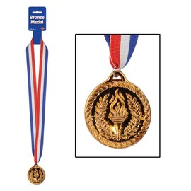 "Award Medal-Bronze with Ribbon-1pkg-30"""