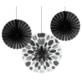 "Hanging Decorations-Paper Fans-Black Solid & Dots-3pkg-12""-16"""