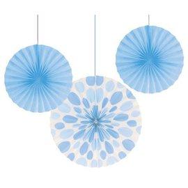 "Hanging Decorations-Paper Fans-Light Blue Solid & Dots-3pkg-12""-16"""