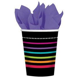 Cups-Black Rainbow Striped-Paper-9oz-8pk