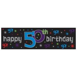 Sign Banner-50th Bday-Plastic-65'' x 20''