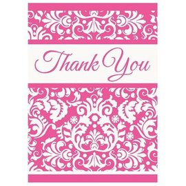 "Thank You Cards- Pink Damask- 8pk (5.5""x4"")"