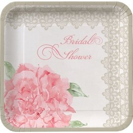 Plates-DN-Antique Bridal Shower-8pkg-Paper (Discontinued)