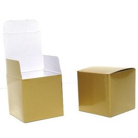 Favor Boxes-Gold Cube-20pkg-1 5/16""