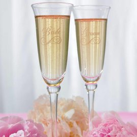 """Etched Toasting Flute Glass-Bride-1pkg-10"""""""