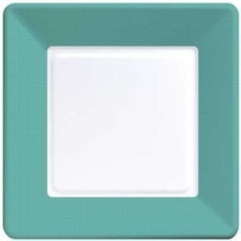 Plates-LN-Tropical Teal Border-12pkg-Paper (Discontinued)