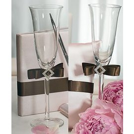 "Flute Wedding Glasses-Chocolate Brown Ribbon-2pkg-9"""