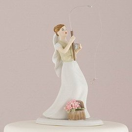 Cake Topper-Caucasian Fishing Bride-1pkg-13cm