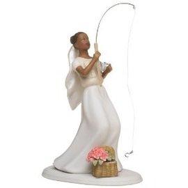 Cake Topper-Non-Caucasian Fishing Bride-1pkg-13cm