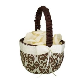 Basket-Mocha and Ivory Flower Girl Basket-8'' x 6''