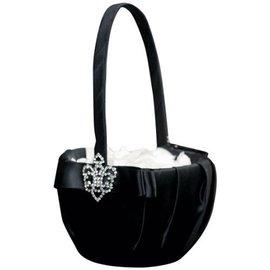 """Flower Girl Basket-Black with Jewel-1pkg-10"""""""