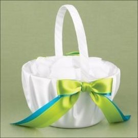 Flower Girl Basket-Turquoise and Lime Green Ribbon-1pkg-8""