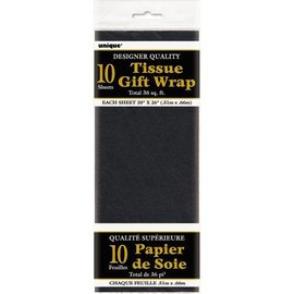 "Tissue Gift Wrap- Black- 10 Sheets (20""x26"" Each)"