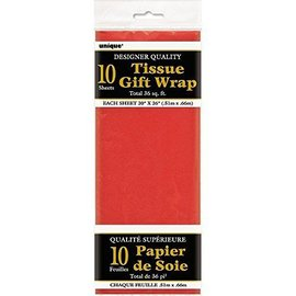 """Tissue Gift Wrap- Red- 10 Sheets (20""""x26"""" Each)"""