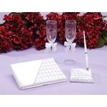 Bridal Guest Book, Pen & Glasses Set-4pk