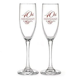 Champagne Glasses- 40th Anniversary-2pk/6oz