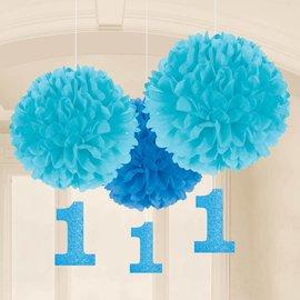 Fluffy Tissue Decor-1st Birthday Boy-Blue-3pk