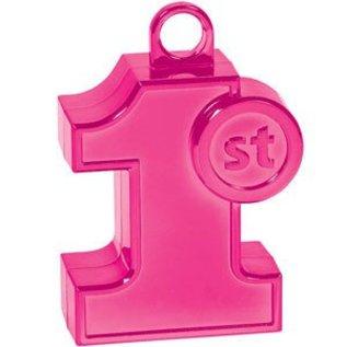 Balloon Weight-Molded 1st Birthday-Pink-6oz