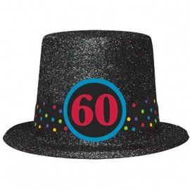 Top Hat-60th Birthday-Plastic-w/Glitter