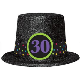 30th Birthday Glitter Top Hat