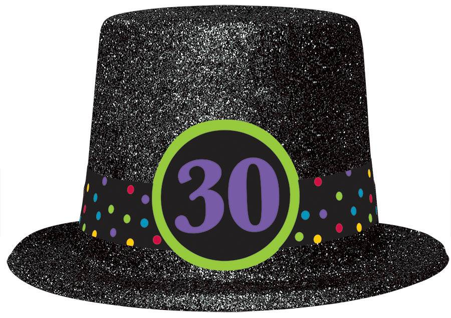 Top Hat Glitter 30th Bday